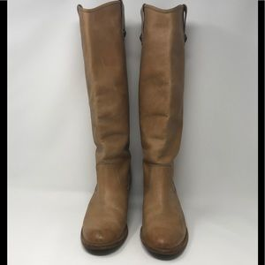 Frye Boots Jackie Button Tall Tan Size 10